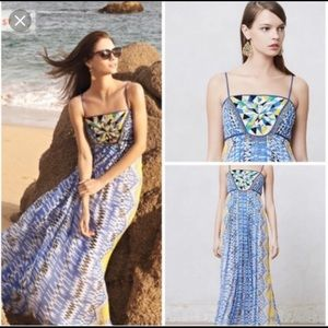 Anthropologie dreamy maxi dress with beaded detail
